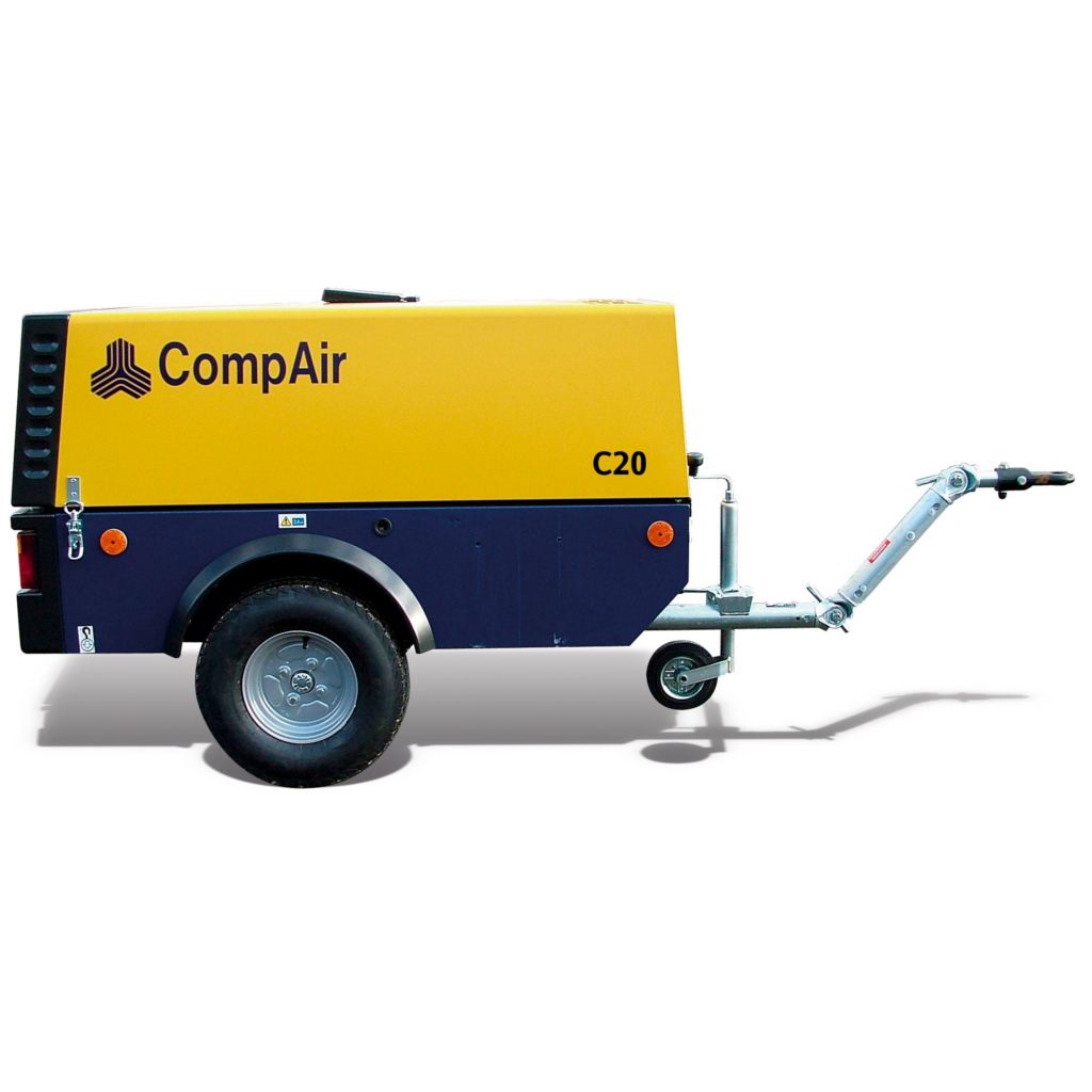 C20 - MOTOCOMPRESSORE COMPAIR C20 2000 LT/MIN 7 BAR SILENZIATO CARRELLATO NON FRENATO